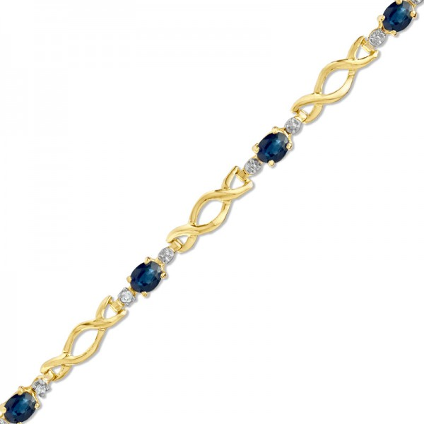 Blue Sapphire and Diamond Accent Infinity Link Bracelet in 10K Gold
