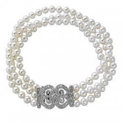 4.5 - 5.0mm Cultured Freshwater Pearl and 1/7 CT. T.W. Diamond Three Strand Bracelet in Sterling Silver - 8""