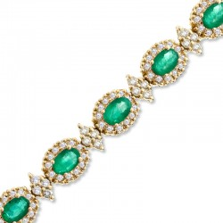 Oval Emerald and 4 CT. T.W. Diamond Bracelet in 14K Gold - 7.25""
