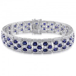 Blue and White Sapphire Bracelet in Sterling Silver - 7.25""