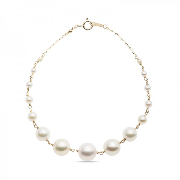 2.0 - 8.0mm Cultured Akoya Pearl Graduated Station Link Bracelet in 14K Gold and 14K Gold Fill