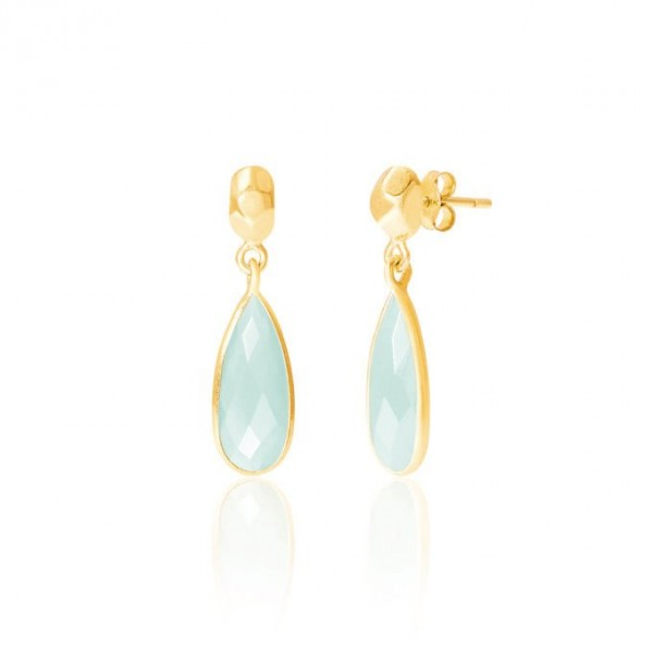 8a30c52f0 Rodgers and Rodgers Gold Stud and Aqua Onyx Drop Earrings
