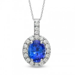 Oval Tanzanite and 1/2 CT. T.W. Diamond Pendant in 14K White Gold