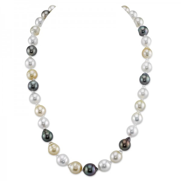 9.0 - 11.0mm Multi-Color Baroque Cultured South Sea Pearl Strand Necklace with 14K White Gold Clasp - 17""