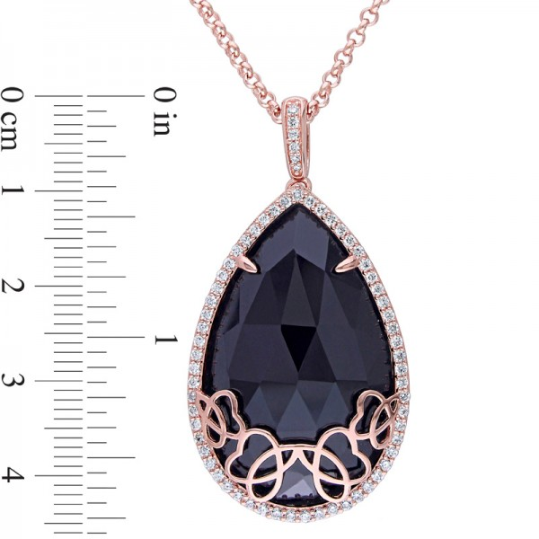 Onyx and 5/8 CT. T.W. Diamond Cursive Pendant in Sterling Silver with 18K Rose Gold Plate - 19""