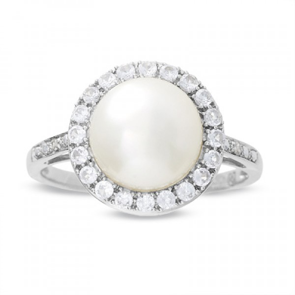 Freshwater Pearl and Lab-Created White Sapphire Ring with Diamond Accents in 10K White Gold