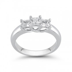 3-1/2 CT. T.W. Princess-Cut Diamond Three Stone Band in 14K White Gold (H/VS2)