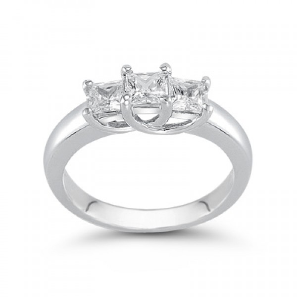 3-1/2 CT. T.W. Princess-Cut Diamond Three Stone Band in 14K White Gold (H/VS2)