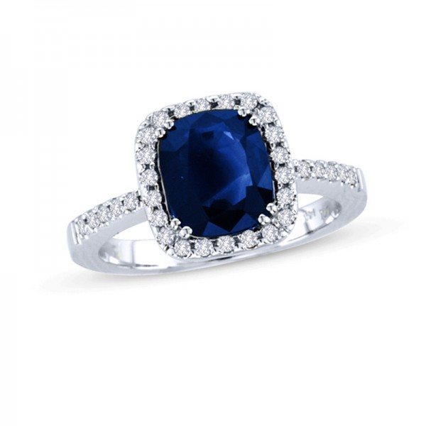 Cushion-Cut Blue Sapphire and 1/4 CT. T.W. Diamond Frame Engagement Ring in 14K White Gold