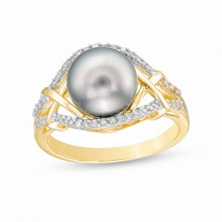 9.0mm Cultured Tahitian Pearl and 1/5 CT. T.W. Diamond Criss-Cross Split Shank Ring in 10K Gold
