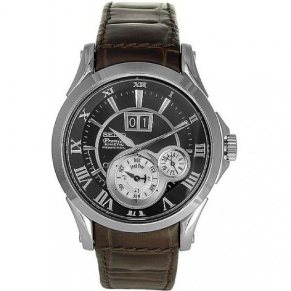 Premier Perpetual Calendar Black Dial Brown Leather Strap Men's Watch