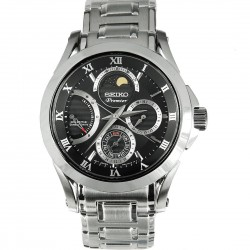 Premier Black Dial Stainless Steel Kinetic Men's Watch