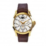 Premier White Dial Brown Leather Band Gold Stainless Steel Automatic Men's Watch