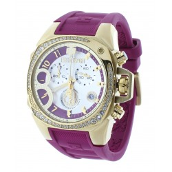 Women's Swiss Cranberry & Gold-Tone Chrono Watch Crystal Accented Bezel