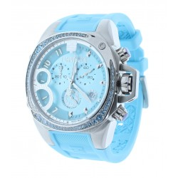 Women's Light Blue Chronograph Watch Blue Crystal Accented Bezel