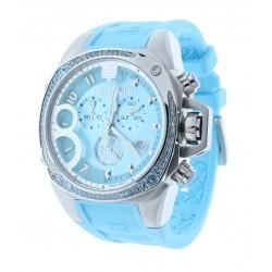 Women's Light Blue Chronograph Watch Blue Crystal Accented Bezel
