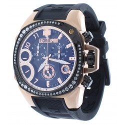 Women's Swiss Rose Gold & Black Chrono Watch Crystal Accented Bezel