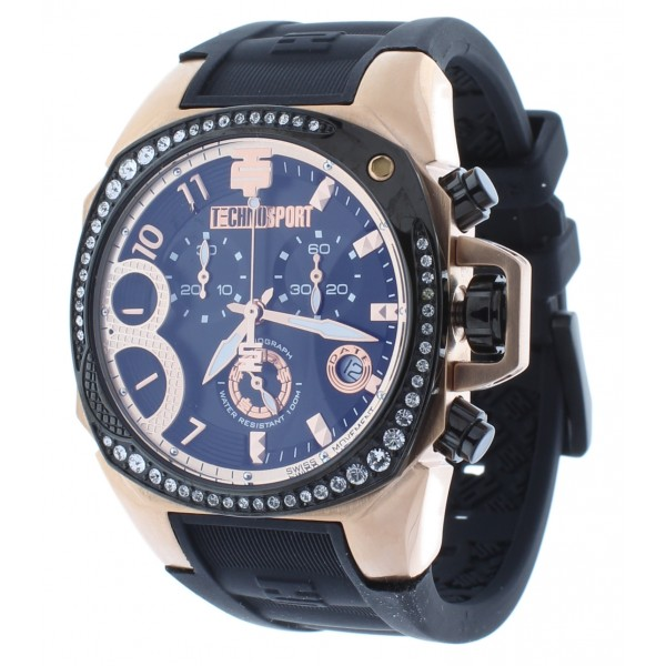 Women's Swiss Rose Gold & Black Chrono Watch Crystal Accented Bezel