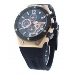 Unisex Chronograph Rose Gold Watch Black Silicone Strap GMT